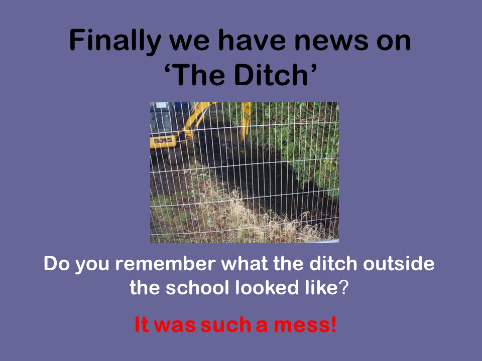 Lots of people have telephoned, written letters and complained about the ditch.