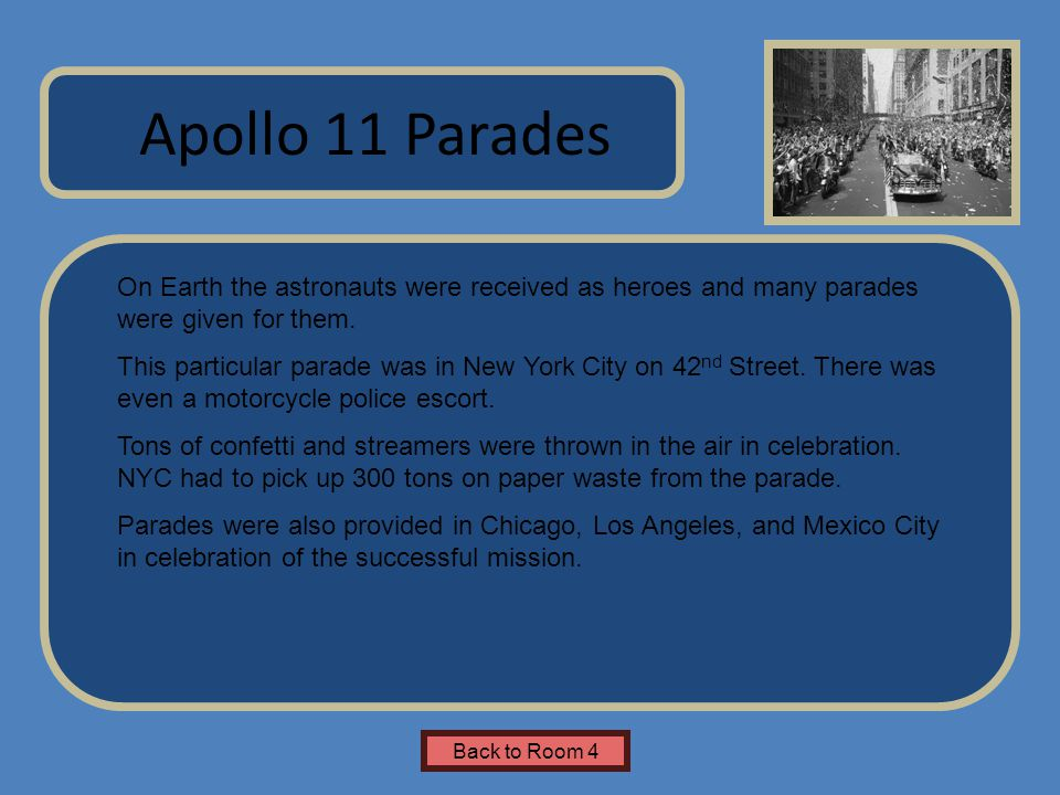 Name of Museum On Earth the astronauts were received as heroes and many parades were given for them.