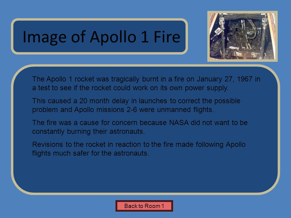 Name of Museum The Apollo 1 rocket was tragically burnt in a fire on January 27, 1967 in a test to see if the rocket could work on its own power supply.