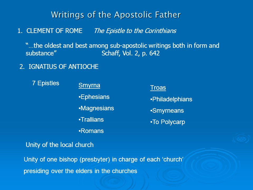 Writings of the Apostolic Father 1.