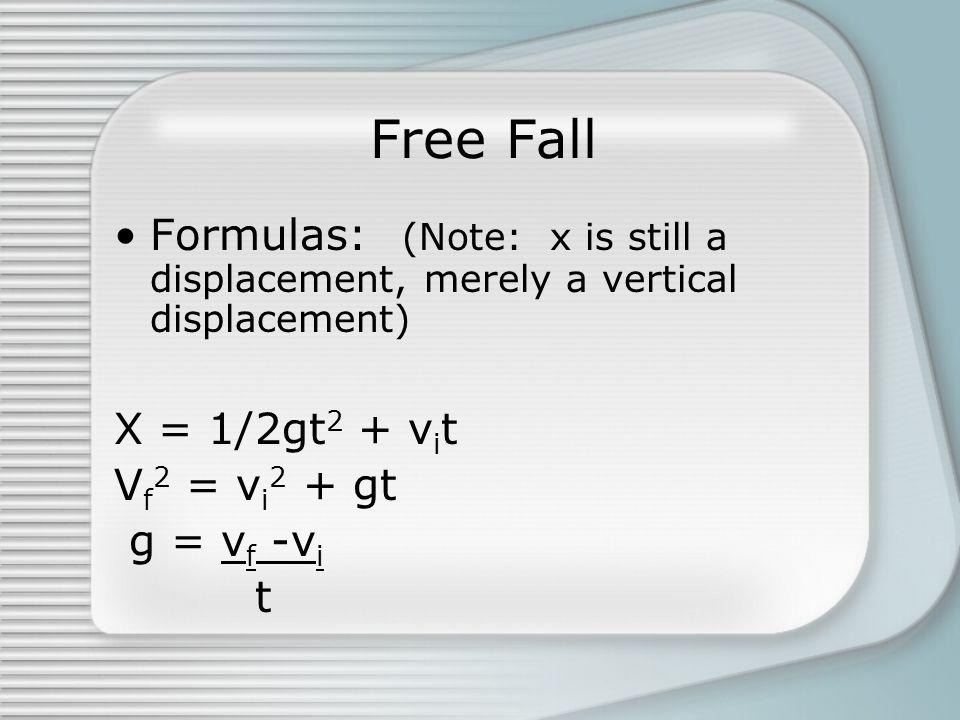 Free Fall Formulas: (Note: x is still a displacement, merely a vertical displacement) X = 1/2gt 2 + v i t V f 2 = v i 2 + gt g = v f -v i t