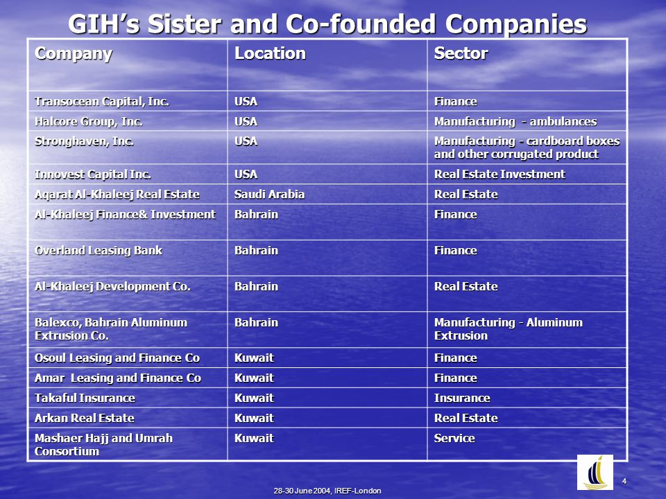 28-30 June 2004, IREF-London 4 GIH's Sister and Co-founded Companies CompanyLocationSector Transocean Capital, Inc. USA Finance Halcore Group, Inc. US