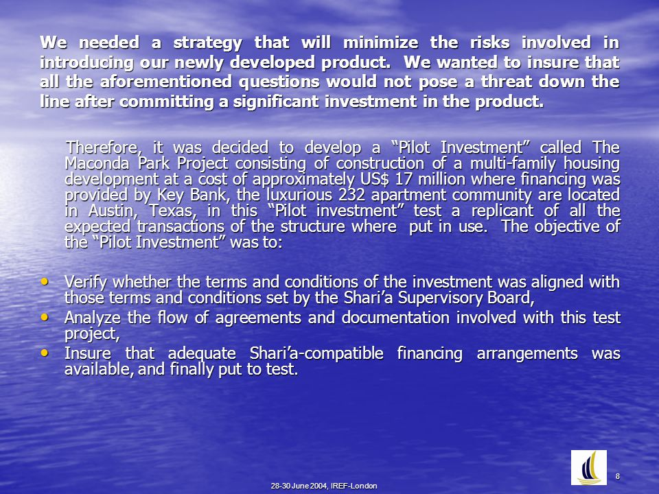 28-30 June 2004, IREF-London 8 We needed a strategy that will minimize the risks involved in introducing our newly developed product.