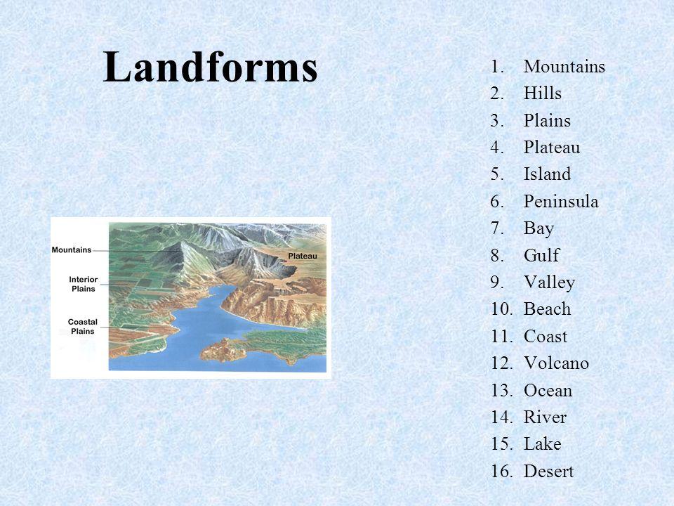 Mountains A mountain has 4 main characteristics 1.