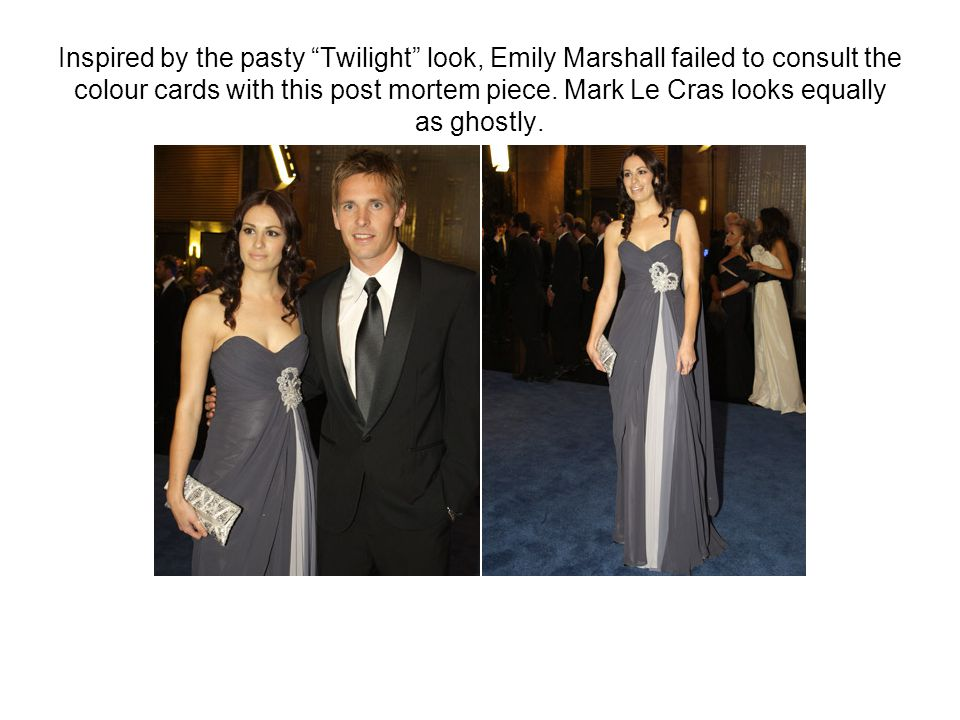 """Inspired by the pasty """"Twilight"""" look, Emily Marshall failed to consult the colour cards with this post mortem piece. Mark Le Cras looks equally as gh"""