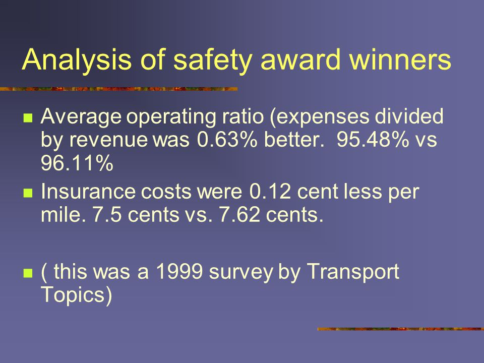 Analysis of safety award winners Average operating ratio (expenses divided by revenue was 0.63% better.