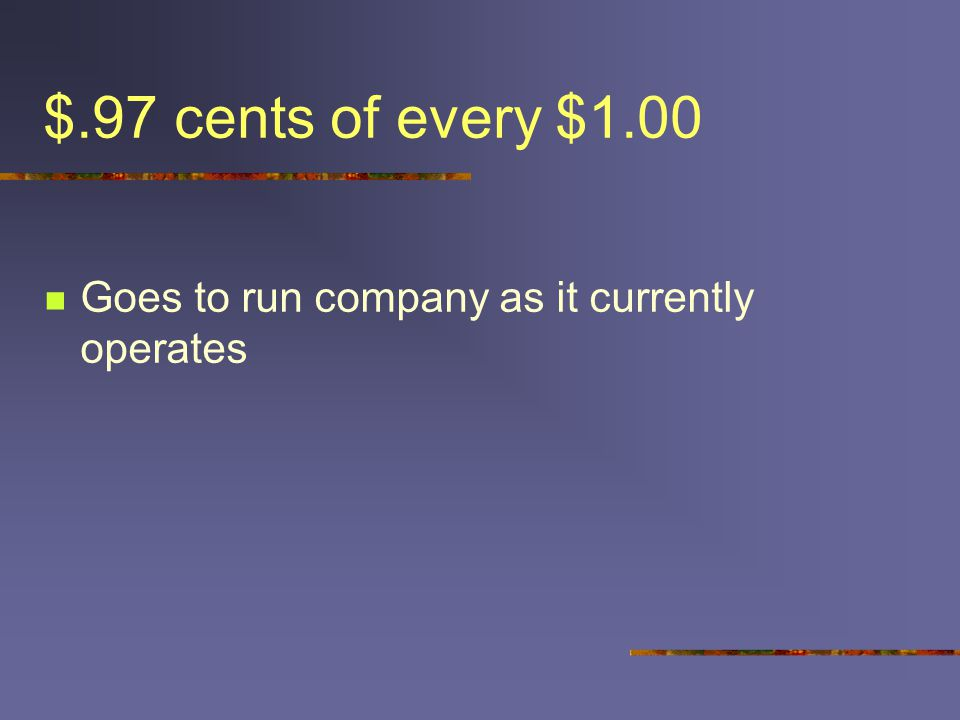 $.97 cents of every $1.00 Goes to run company as it currently operates