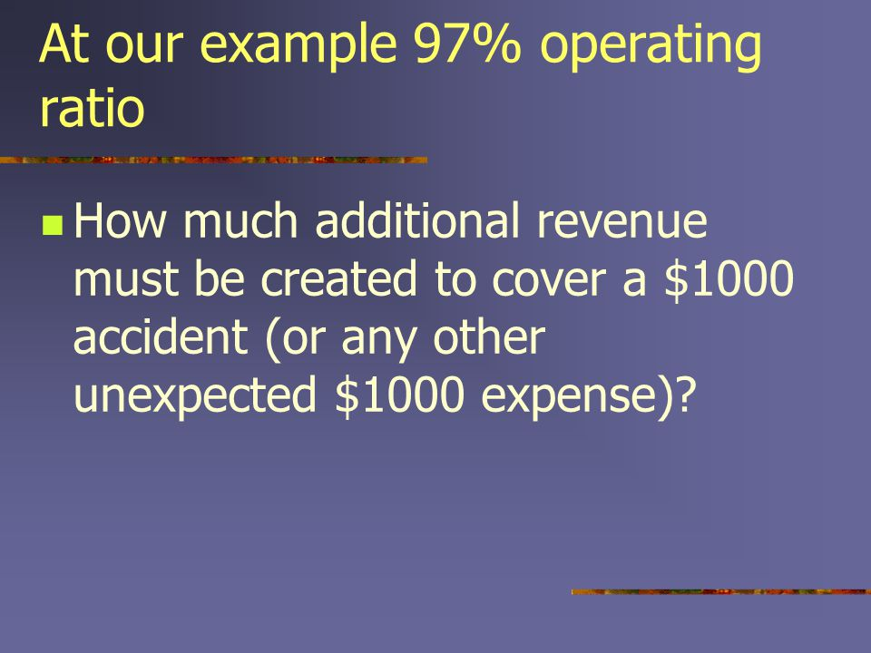 At our example 97% operating ratio How much additional revenue must be created to cover a $1000 accident (or any other unexpected $1000 expense)