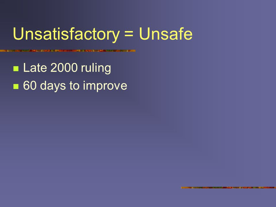 Unsatisfactory = Unsafe Late 2000 ruling 60 days to improve