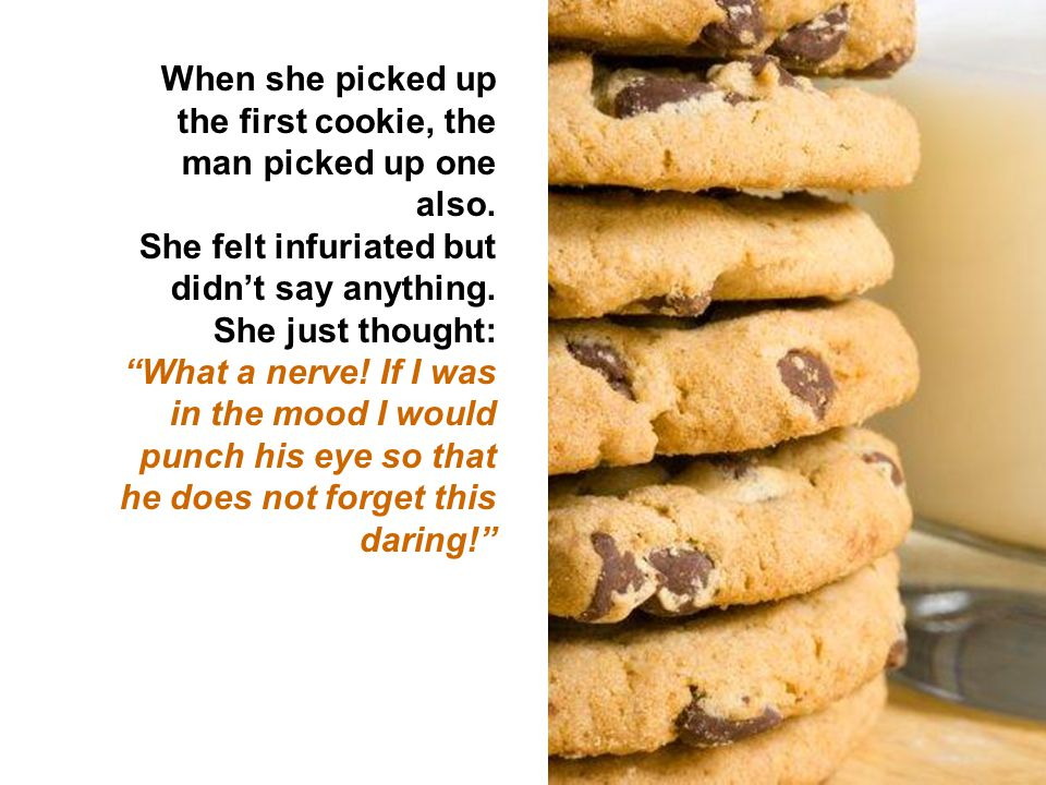 On side of the armchair there was packet of cookies. A man sat down, opened his magazine and started reading.