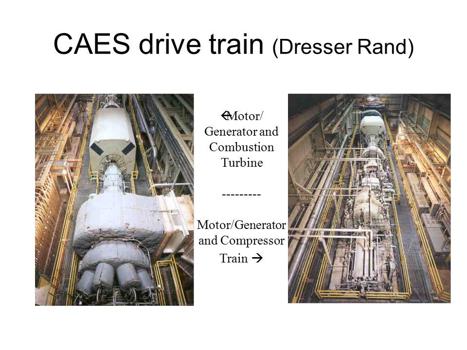 CAES drive train (Dresser Rand)  Motor/ Generator and Combustion Turbine --------- Motor/Generator and Compressor Train 