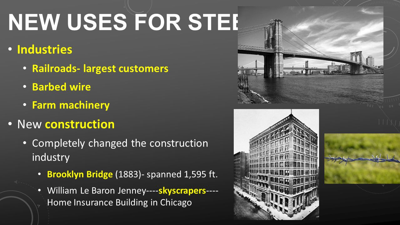 NEW USES FOR STEEL Industries Railroads- largest customers Barbed wire Farm machinery New construction Completely changed the construction industry Brooklyn Bridge (1883)- spanned 1,595 ft.