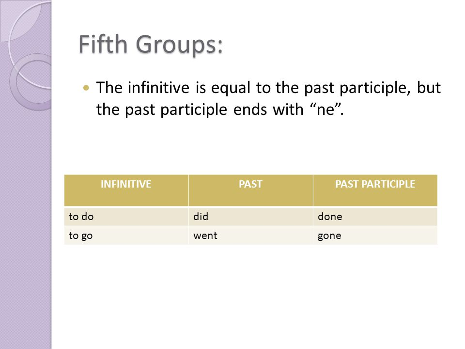 "Fifth Groups: The infinitive is equal to the past participle, but the past participle ends with ""ne"". INFINITIVEPASTPAST PARTICIPLE to dodiddone to go"
