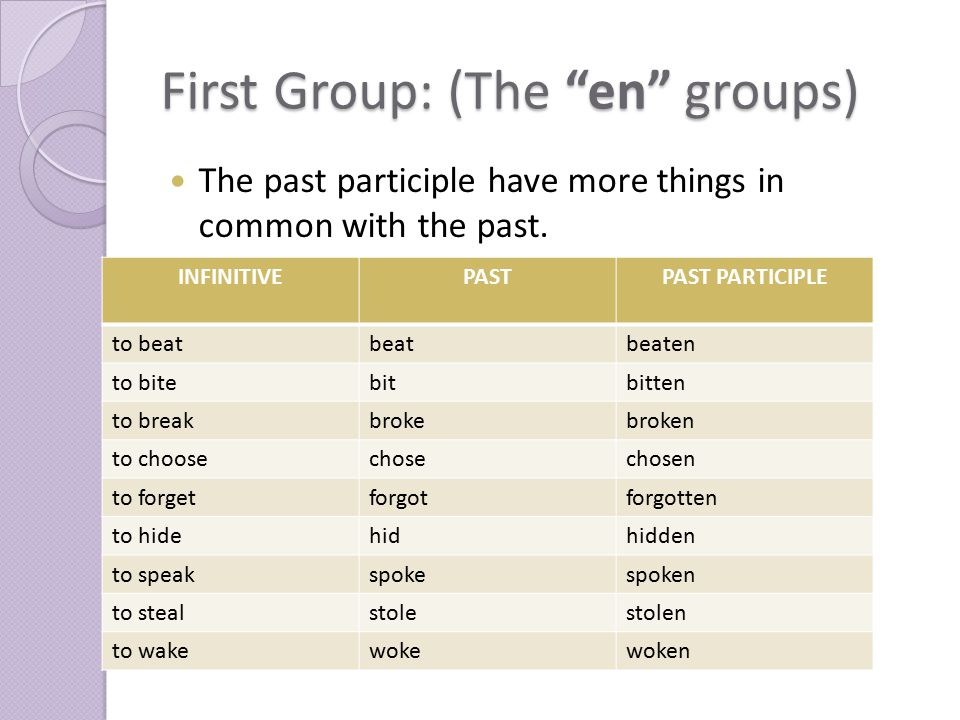 "First Group: (The ""en"" groups) The past participle have more things in common with the past. INFINITIVEPASTPAST PARTICIPLE to beatbeatbeaten to bitebi"
