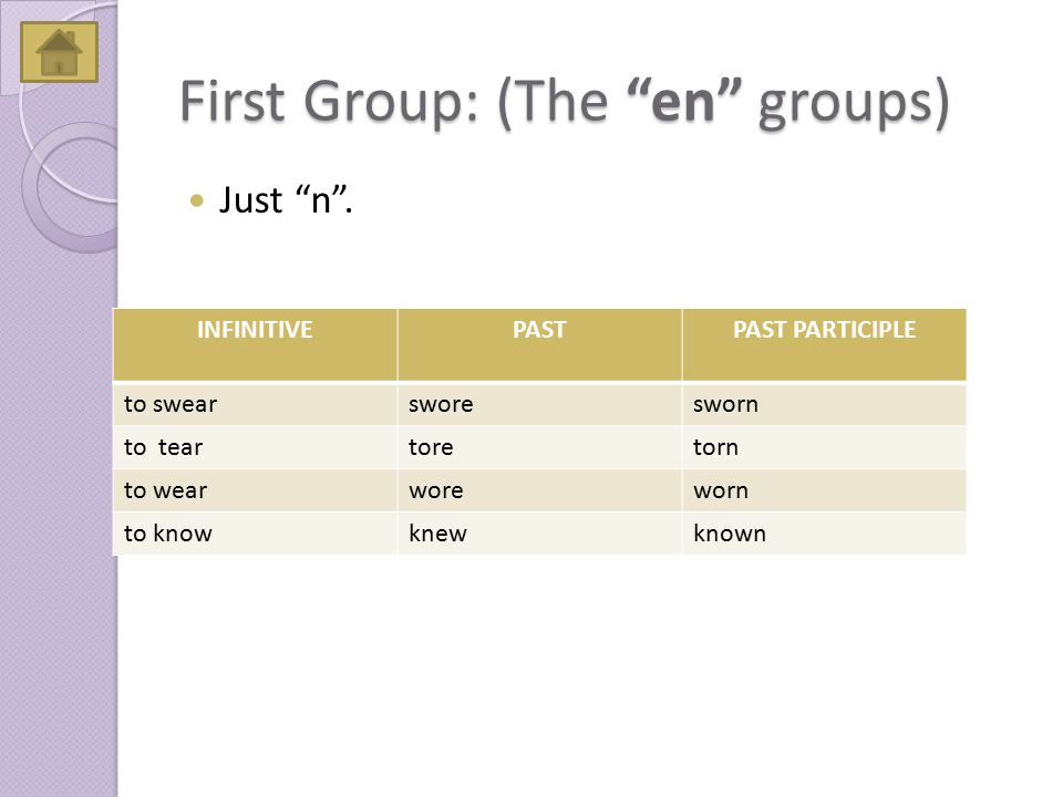 "First Group: (The ""en"" groups) Just ""n"". INFINITIVEPASTPAST PARTICIPLE to swearsworesworn to teartoretorn to wearworeworn to knowknewknown"