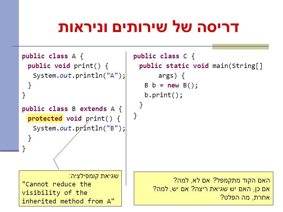 10 דריסה של שירותים וניראות public class A { public void print() { System.out.println( A ); } public class B extends A { protected void print() { System.out.println( B ); } public class C { public static void main(String[] args) { B b = new B(); b.print(); } שגיאת קומפילציה: Cannot reduce the visibility of the inherited method from A האם הקוד מתקמפל.