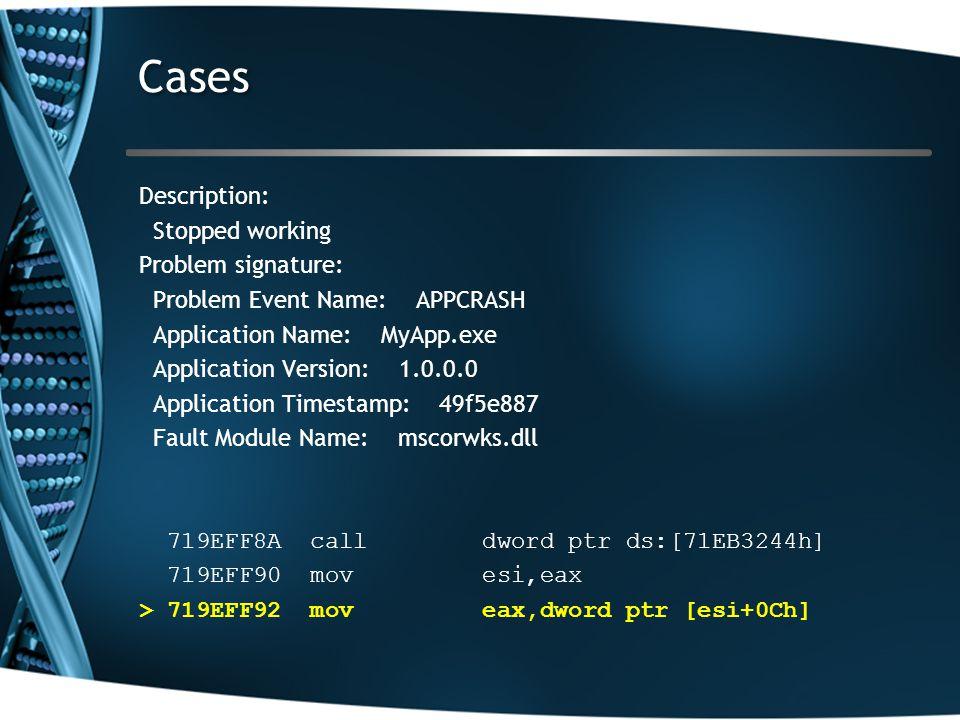 Cases Description: Stopped working Problem signature: Problem Event Name: APPCRASH Application Name: MyApp.exe Application Version: 1.0.0.0 Application Timestamp: 49f5e887 Fault Module Name: mscorwks.dll 719EFF8A call dword ptr ds:[71EB3244h] 719EFF90 mov esi,eax > 719EFF92 mov eax,dword ptr [esi+0Ch]