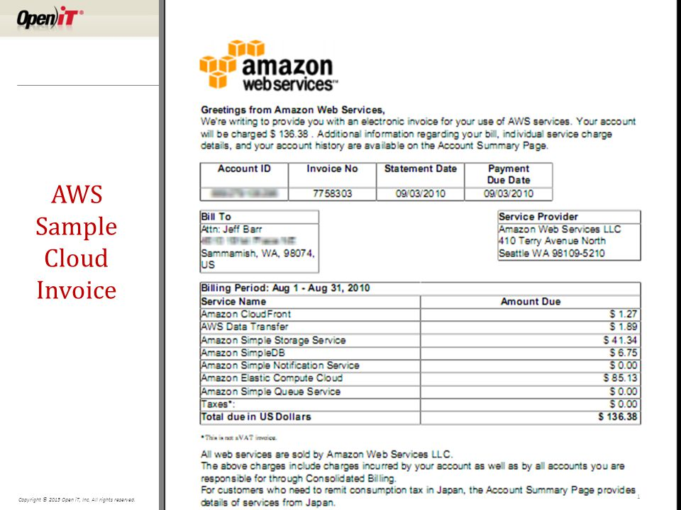 Copyright © 2015 Open iT, Inc. All rights reserved. AWS Sample Cloud Invoice 1