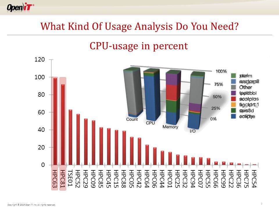 Copyright © 2015 Open iT, Inc. All rights reserved. 1 What Kind Of Usage Analysis Do You Need? CPU-usage in percent