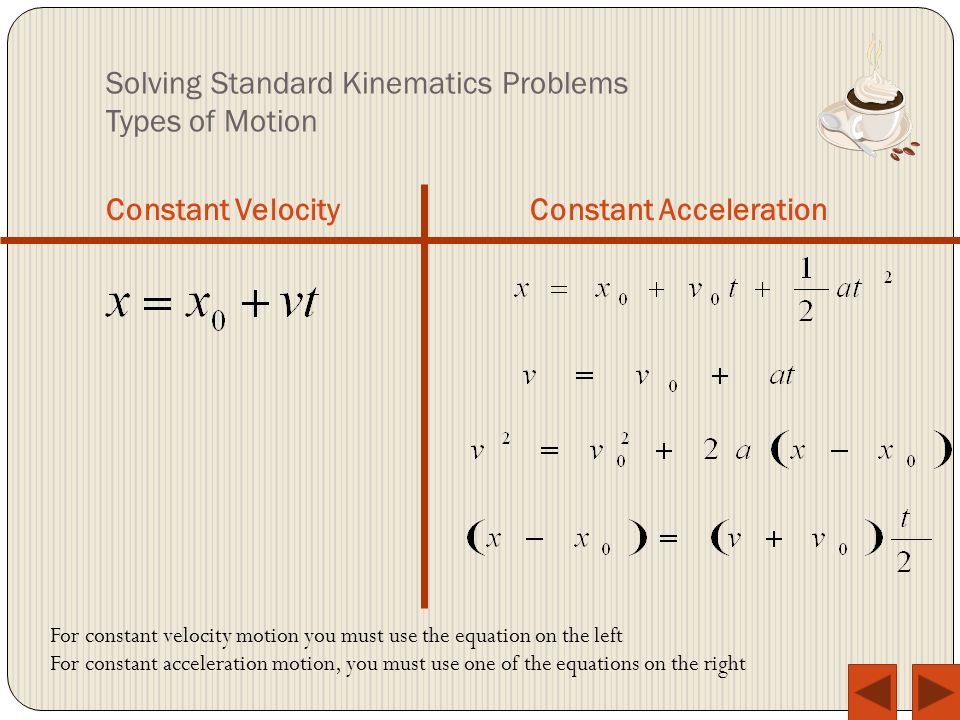 Solving Standard Kinematics Problems Types of Motion Constant VelocityConstant Acceleration For constant velocity motion you must use the equation on the left For constant acceleration motion, you must use one of the equations on the right