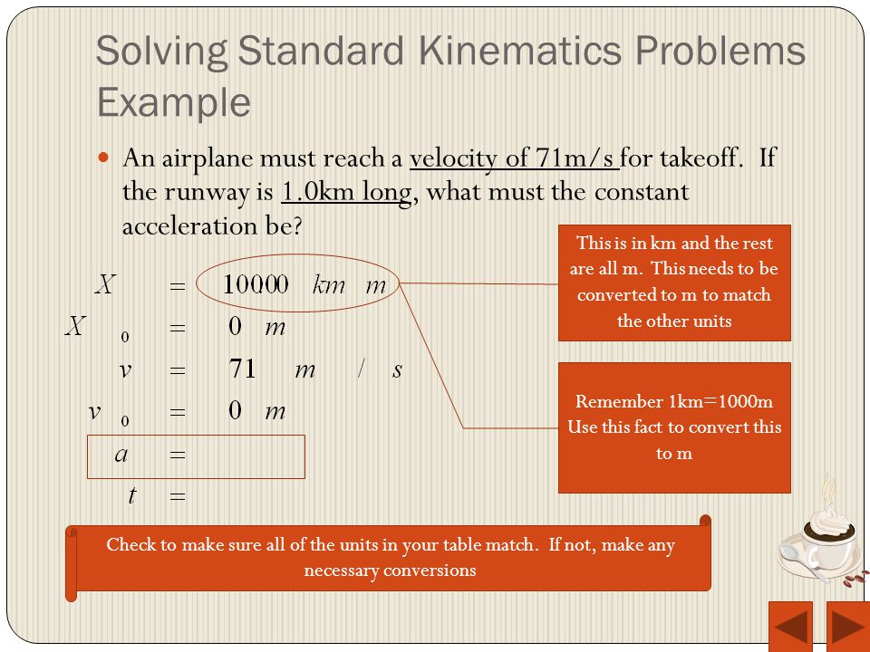 Solving Standard Kinematics Problems Example Remember 1km=1000m Use this fact to convert this to m Check to make sure all of the units in your table match.