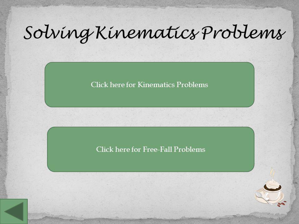Solving Standard Kinematics Problems Problem Solving steps 1.