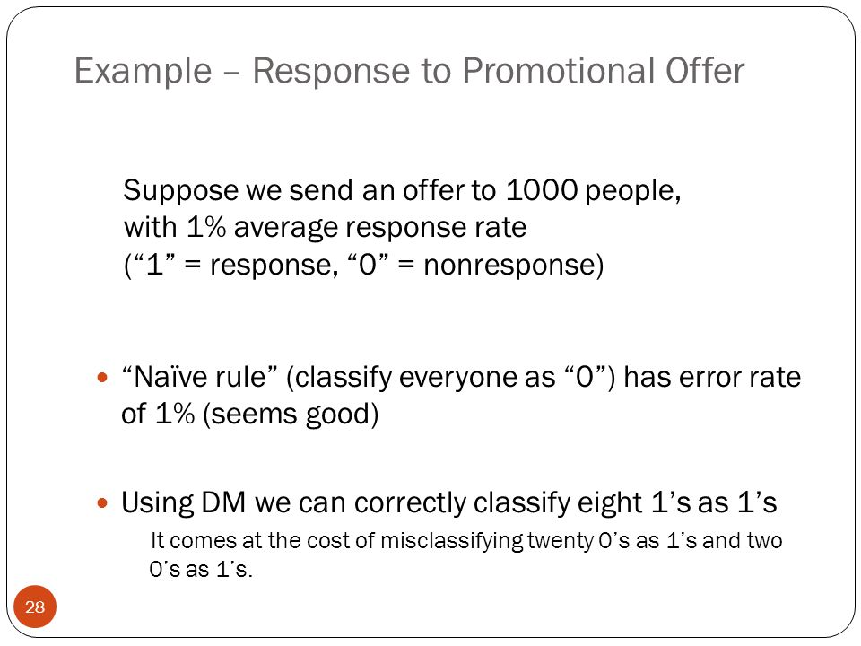 """Example – Response to Promotional Offer """"Naïve rule"""" (classify everyone as """"0"""") has error rate of 1% (seems good) Using DM we can correctly classify e"""