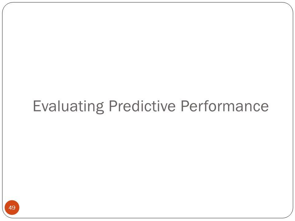Evaluating Predictive Performance 49