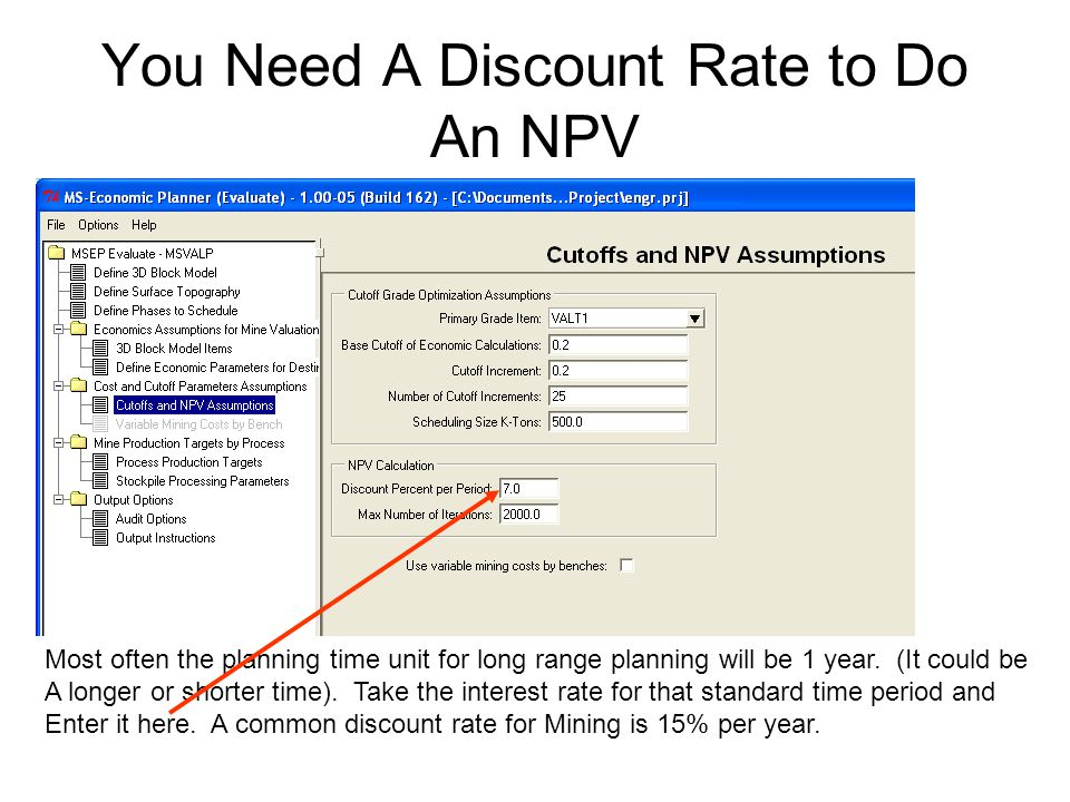 You Need A Discount Rate to Do An NPV Most often the planning time unit for long range planning will be 1 year.