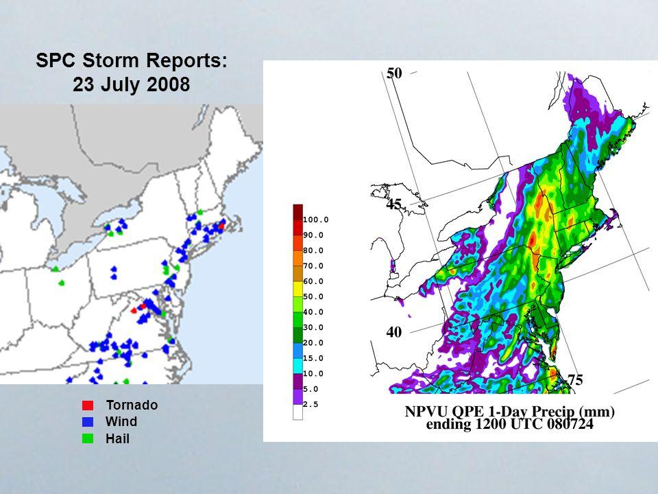 SPC Storm Reports: 23 July 2008 Tornado Wind Hail
