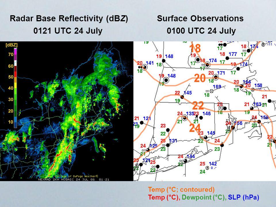 0100 UTC 24 July0121 UTC 24 July Radar Base Reflectivity (dBZ)Surface Observations Temp (°C; contoured) Temp (°C), Dewpoint (°C), SLP (hPa)