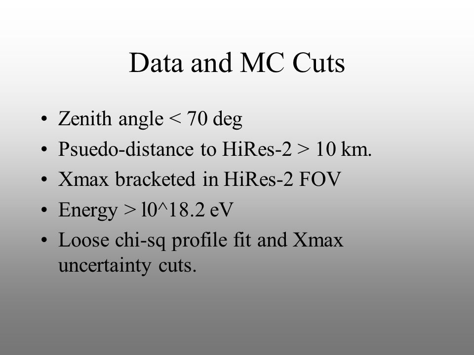 Data and MC Cuts Zenith angle < 70 deg Psuedo-distance to HiRes-2 > 10 km.
