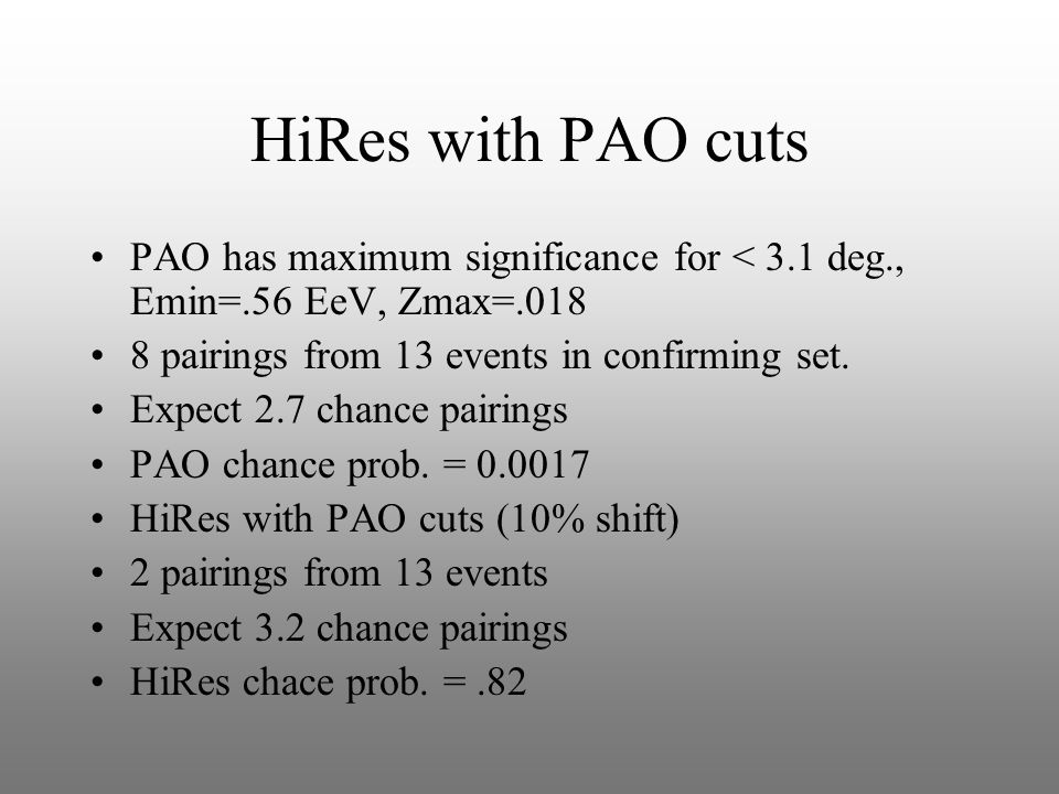 HiRes with PAO cuts PAO has maximum significance for < 3.1 deg., Emin=.56 EeV, Zmax=.018 8 pairings from 13 events in confirming set.