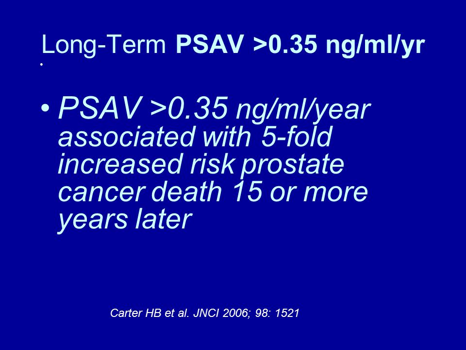 Long-Term PSAV >0.35 ng/ml/yr PSAV >0.35 ng/ml/year associated with 5-fold increased risk prostate cancer death 15 or more years later Carter HB et al.