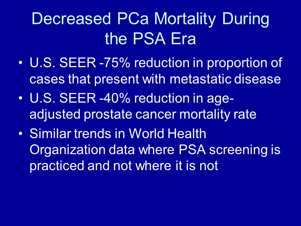 Decreased PCa Mortality During the PSA Era U.S.