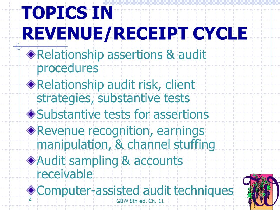 GBW 8th ed. Ch. 11 2 TOPICS IN REVENUE/RECEIPT CYCLE Relationship assertions & audit procedures Relationship audit risk, client strategies, substantiv