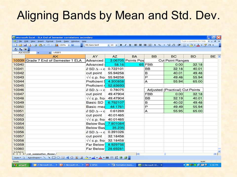 Aligning Bands by Mean and Std. Dev.