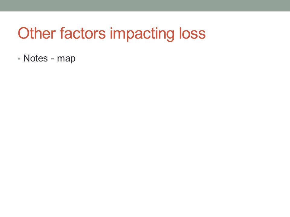 Other factors impacting loss Notes - map
