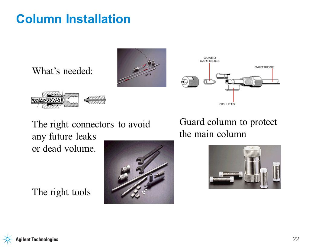 22 Column Installation What's needed: The right connectors to avoid any future leaks or dead volume.