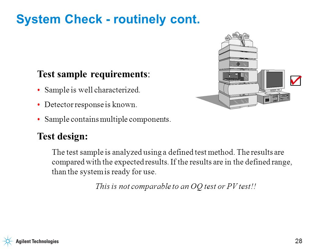 28 System Check - routinely cont. Test sample requirements: Sample is well characterized.