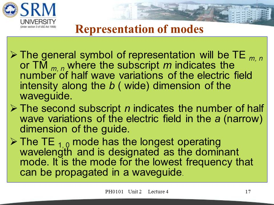 PH0101 Unit 2 Lecture 417 Representation of modes  The general symbol of representation will be TE m, n or TM m, n where the subscript m indicates th