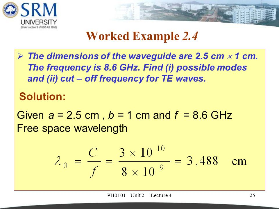 PH0101 Unit 2 Lecture 425 Worked Example 2.4  The dimensions of the waveguide are 2.5 cm  1 cm. The frequency is 8.6 GHz. Find (i) possible modes an