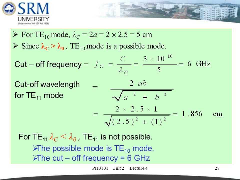 PH0101 Unit 2 Lecture 427  For TE 10 mode, λ C = 2a = 2  2.5 = 5 cm  Since λ C > λ 0, TE 10 mode is a possible mode. Cut – off frequency = Cut-off