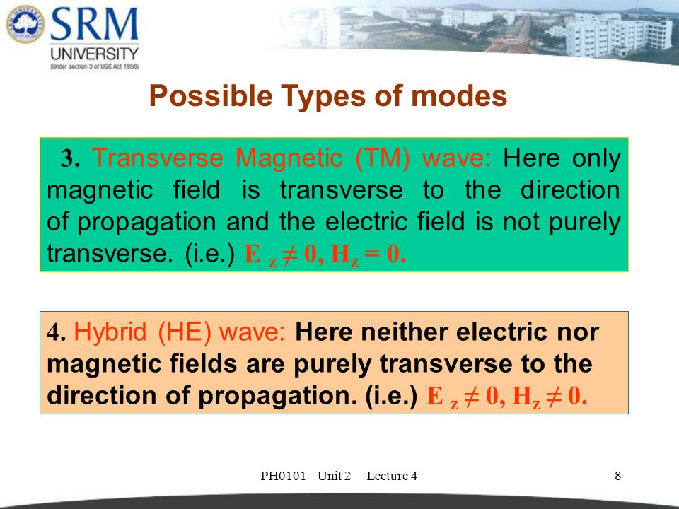 PH0101 Unit 2 Lecture 48 4. Hybrid (HE) wave: Here neither electric nor magnetic fields are purely transverse to the direction of propagation. (i.e.)