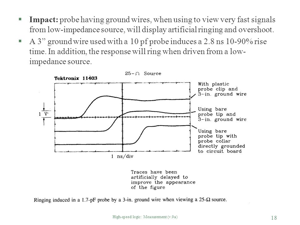 High-speed logic: Measurement (v.9a) 18 §Impact: probe having ground wires, when using to view very fast signals from low-impedance source, will displ