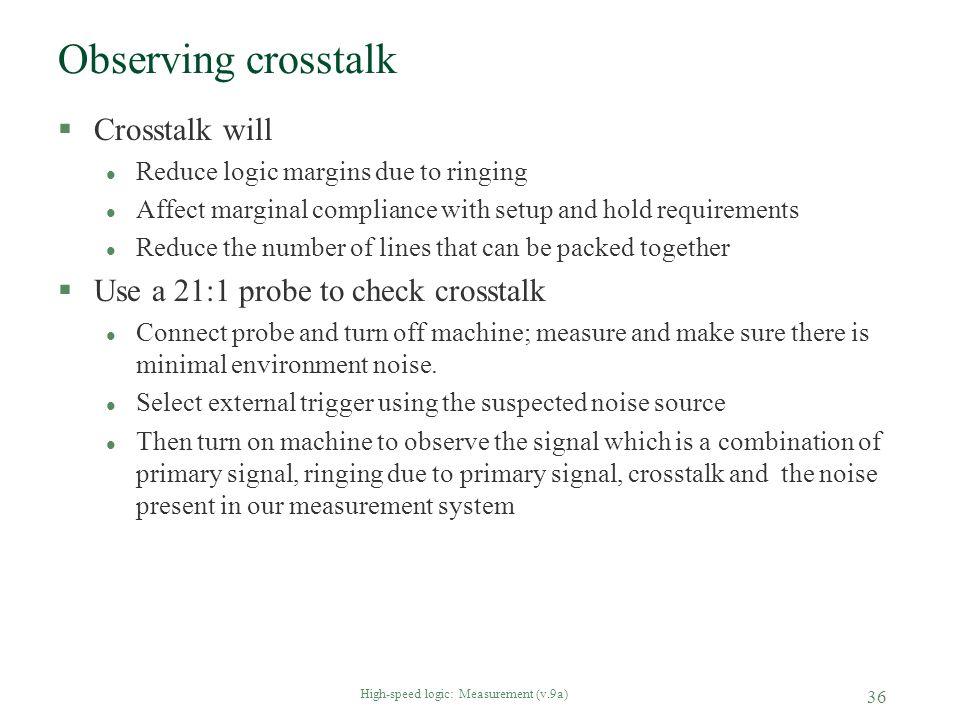High-speed logic: Measurement (v.9a) 36 Observing crosstalk §Crosstalk will l Reduce logic margins due to ringing l Affect marginal compliance with se