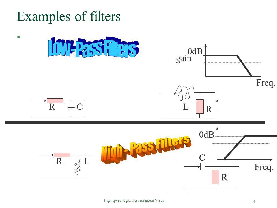 High-speed logic: Measurement (v.9a) 4 Examples of filters § RC RL R C L R Freq. gain 0dB Freq.