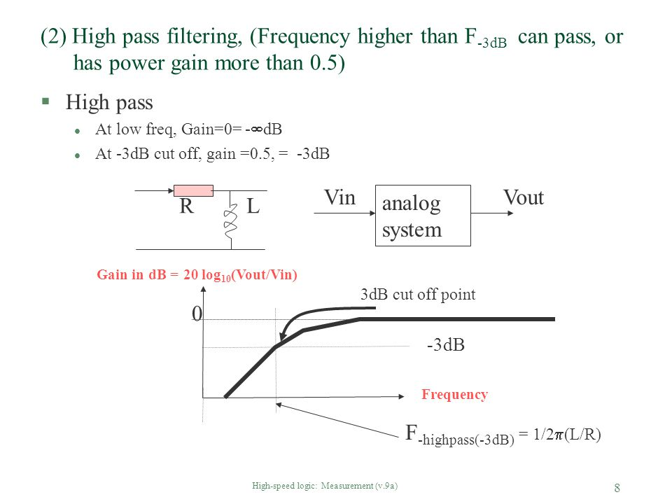 High-speed logic: Measurement (v.9a) 8 (2) High pass filtering, (Frequency higher than F -3dB can pass, or has power gain more than 0.5) §High pass l
