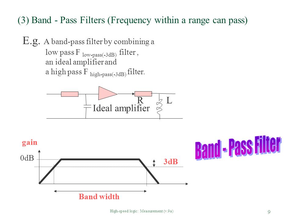 High-speed logic: Measurement (v.9a) 10 (4)Tuned filter: special case of a band-pass filter -- only a narrow band can pass §When the low pass F low-pass(-3dB), and the a high pass F high-pass(-3dB) filter are close.