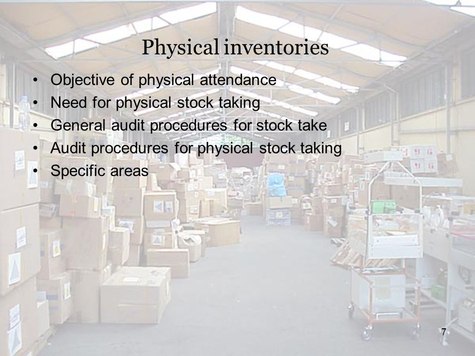 18 Audit of Inventory valuation Topics to Cover: -Definition of Inventories (Detailed) -Initial Recognition of Inventories -Implications of ISA-500 (Audit Evidence) on audit of Inventories -Subsequent Measurement of Inventories including different methods of Inventory Valuation -Other Matters which include Retail and Standard Cost Method of Inventory Valuation and special considerations related to Joint and By Product Costs.